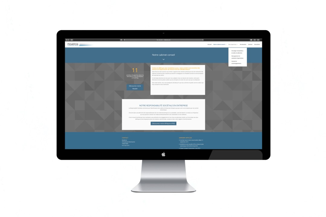 MODENCIA WEBSITE MENU PAGE