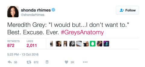 Shonda Rhimes on excuses