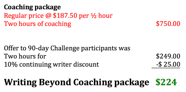 Writing Beyond ridiculously reduced coaching package