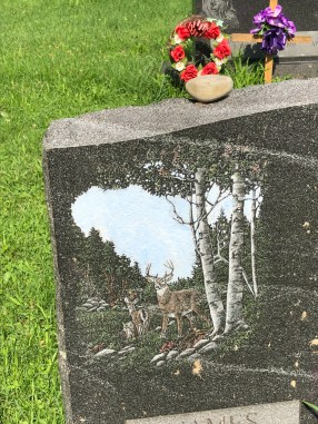 details matter —headstone painting of deer in a forest
