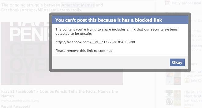 Facebook Fascist article BANNED by Facebook