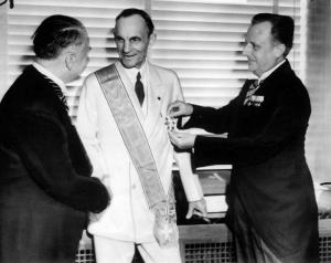 Nazi diplomats awarding Henry Ford, center, with the Third Reich's highest award for foreigners, the Grand Cross of the German Eagle, in July 1938. CREDIT: AP Photo