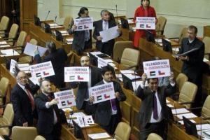 Chilean congresspeople standing in solidarity with Palestine. CREDIT: Twitter