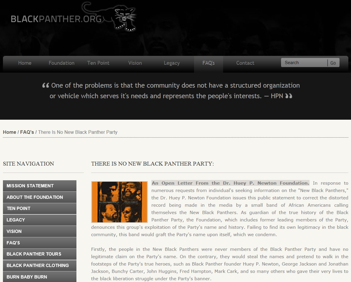 """A screen capture of the """"There Is No New Black Panther Party"""" statement on the official website of the Dr. Huey P. Newton Foundation. The site has since gone out of service."""
