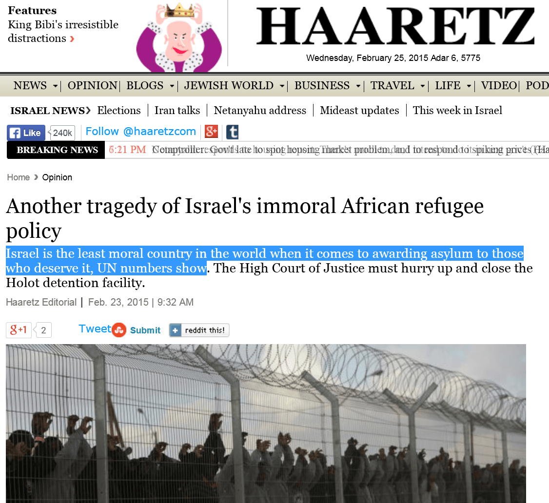 haaretz israel least moral country in the world