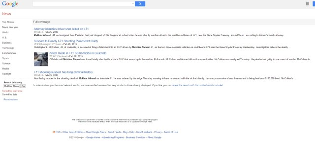 """The media coverage when one searches """"Mukhtar Ahmed"""" in Google News, as of 4:04 pm EST on 27 February, two days after the attack"""
