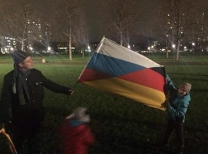 A Russia/Germany flag at a PEGIDA demonstration in January 2015