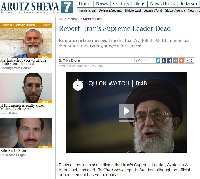Right-Wing Media Runs False Articles Claiming Ayatollah Khamenei Died, Based on Social Media Rumors