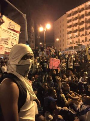 Ethiopian Israelis protesting police brutality outside of Netanyahu's house, in Jerusalem on April 30 CREDIT: Keren Simons