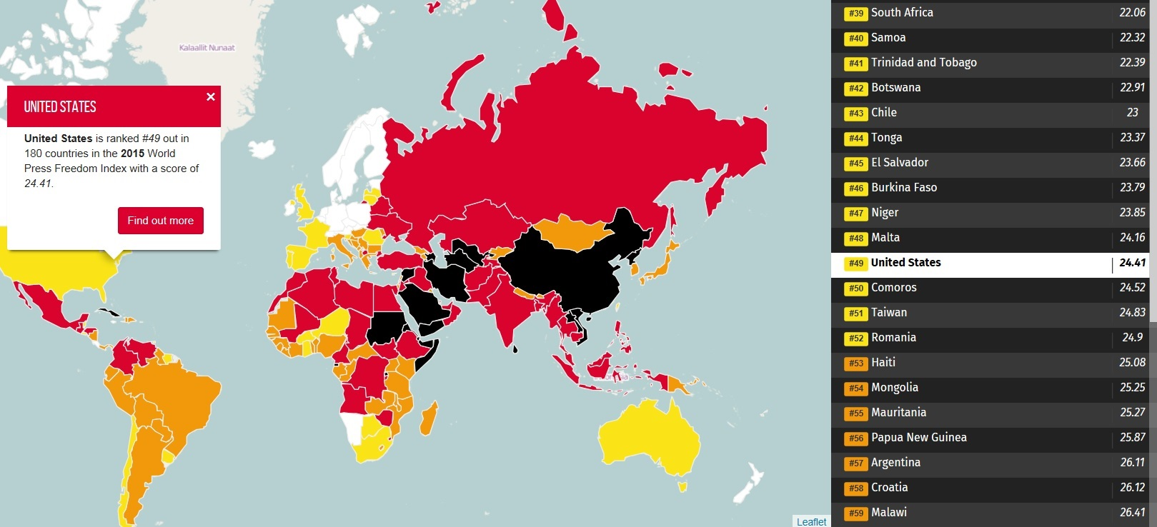 American Exceptionalism: US Has World's 49th-Freest Press