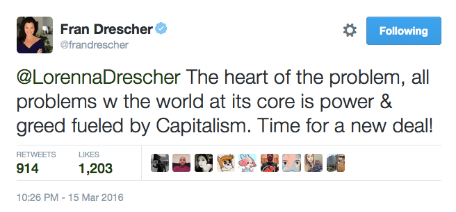 Fran Drescher condemns capitalism, condones revolution