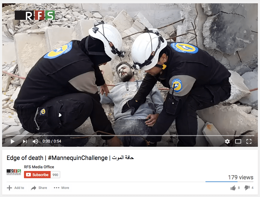 "Syrian rebel media releases staged White Helmets rescue ""mannequin challenge"" video — then deletes it"