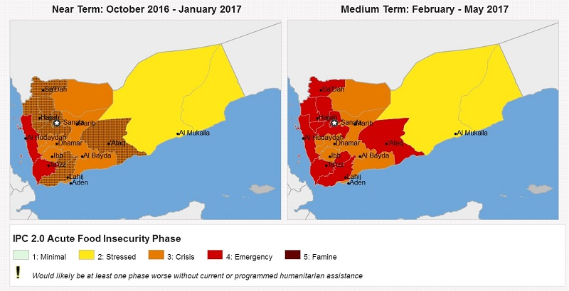 (The Famine Early Warning Systems Network's analysis of food insecurity in Yemen in December 2016)