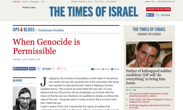 The Times of Israel's Defense of Genocide Echoes Israeli State Policy