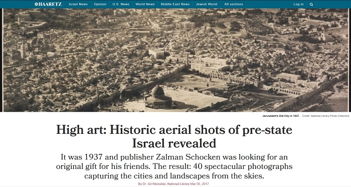 "Liberal Israeli newspaper Haaretz calls 1937 Palestine ""pre-state Israel,"" in article by government employee"