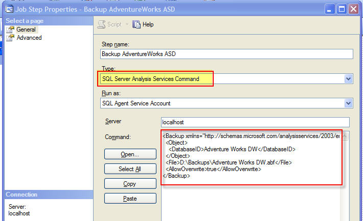 Figure 4 - SQL Analysis Services Command