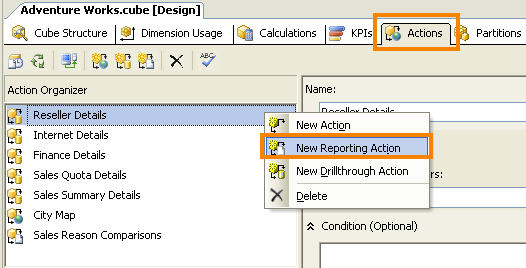 Figure 4 - Create New Reporting Action