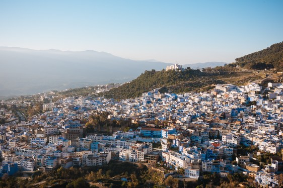 View of Chefchaouen from Spanish Mosque, Chefchaouen, Morocco, North Africa