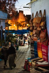 Leather & Textile goods for sale, Chefchaouen, Morocco, North Africa