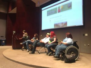 """Ben Pollock moderates a panel, """"WordPress 101 Wrap-Up,"""" including Brandee Spears Segraves, Michael McCranie, Monica Fields Foster and Jamie Smith. Photo by Eric Huber."""