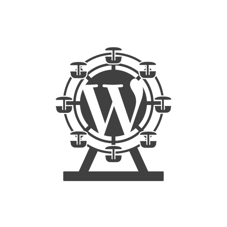 Square WordPress logo with Ferris wheel motif