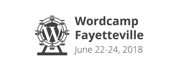 Graphic logo with words for the 2018 WordCamp Fayetteville conference