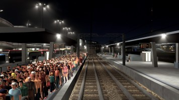Evacuated citizens waiting for the trains back to the City Centre after the Tsunami
