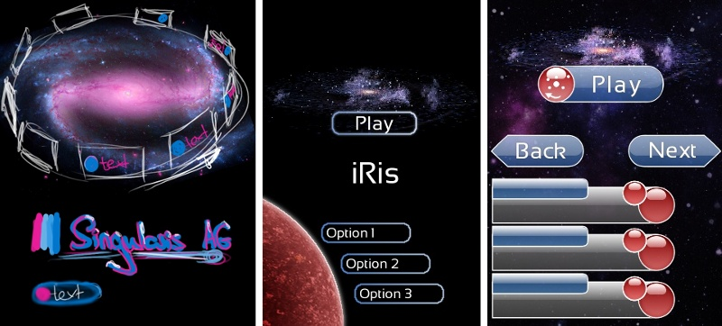 Various iterations of the main menu done in GIMP