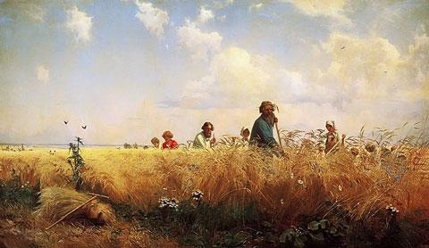 Harvest Time Mowers 1873, by Grigory Myasoedov