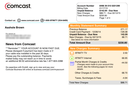 Comcast changed customer's name to 'Asshole'