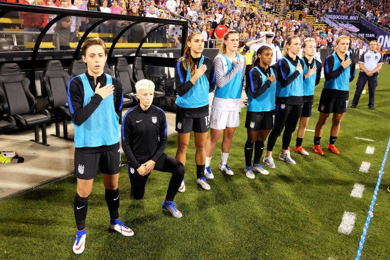 Megan Rapinoe kneels during national anthem while representing U.S.