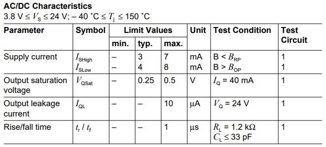 Datasheet du TLE4945L - Le capteur à effet Hall