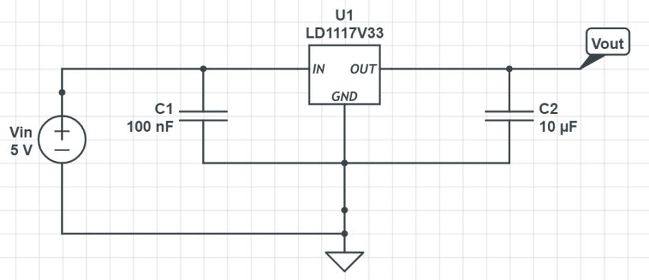 Montage régulateur 3,3V avec ESP8266.