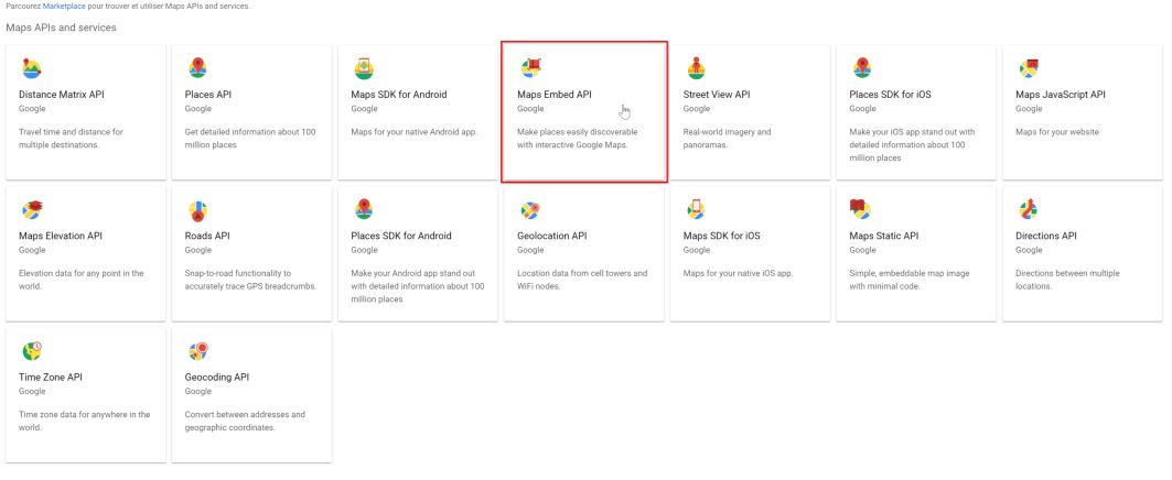 Vue d'ensemble de toutes les API Google Map
