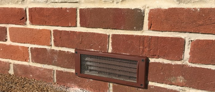 Air brick with mesh proofing installed