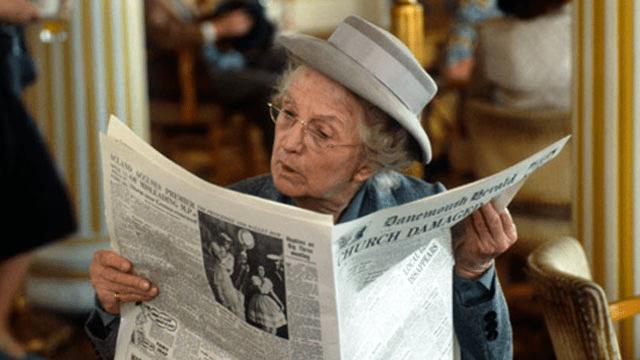 Image result for Miss Marple reading newspaper