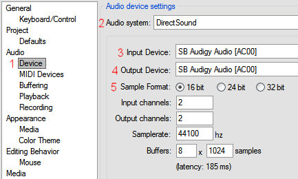 REAPER soundcard configuration