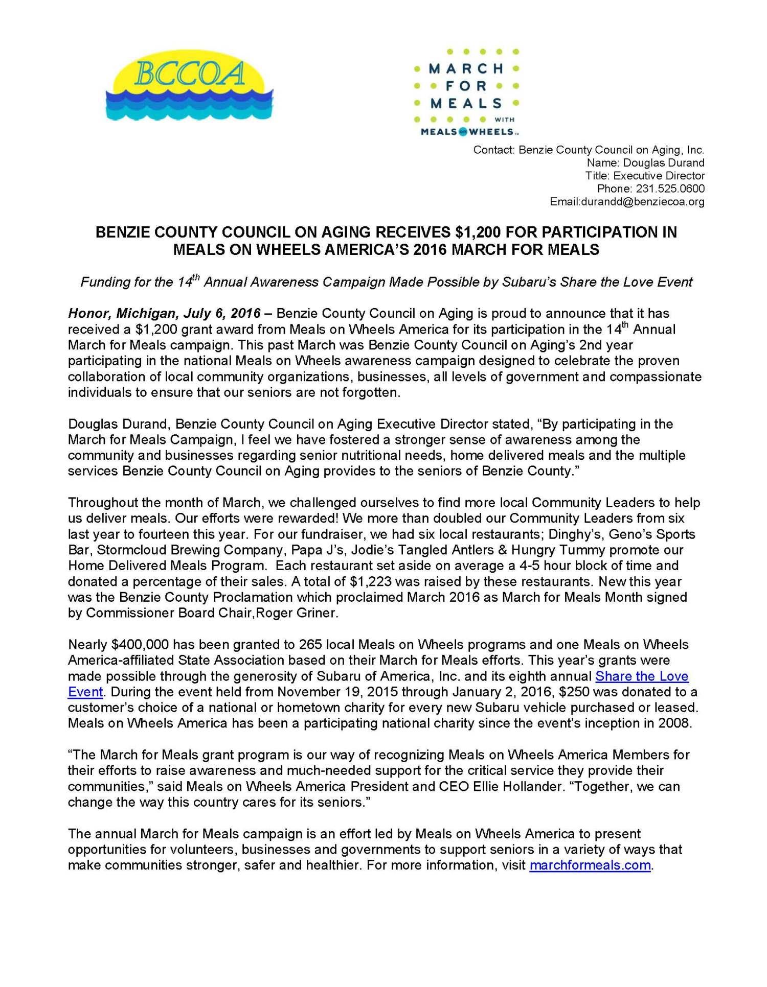 Meals on Wheels America Grant Award – Benzie Senior Resources