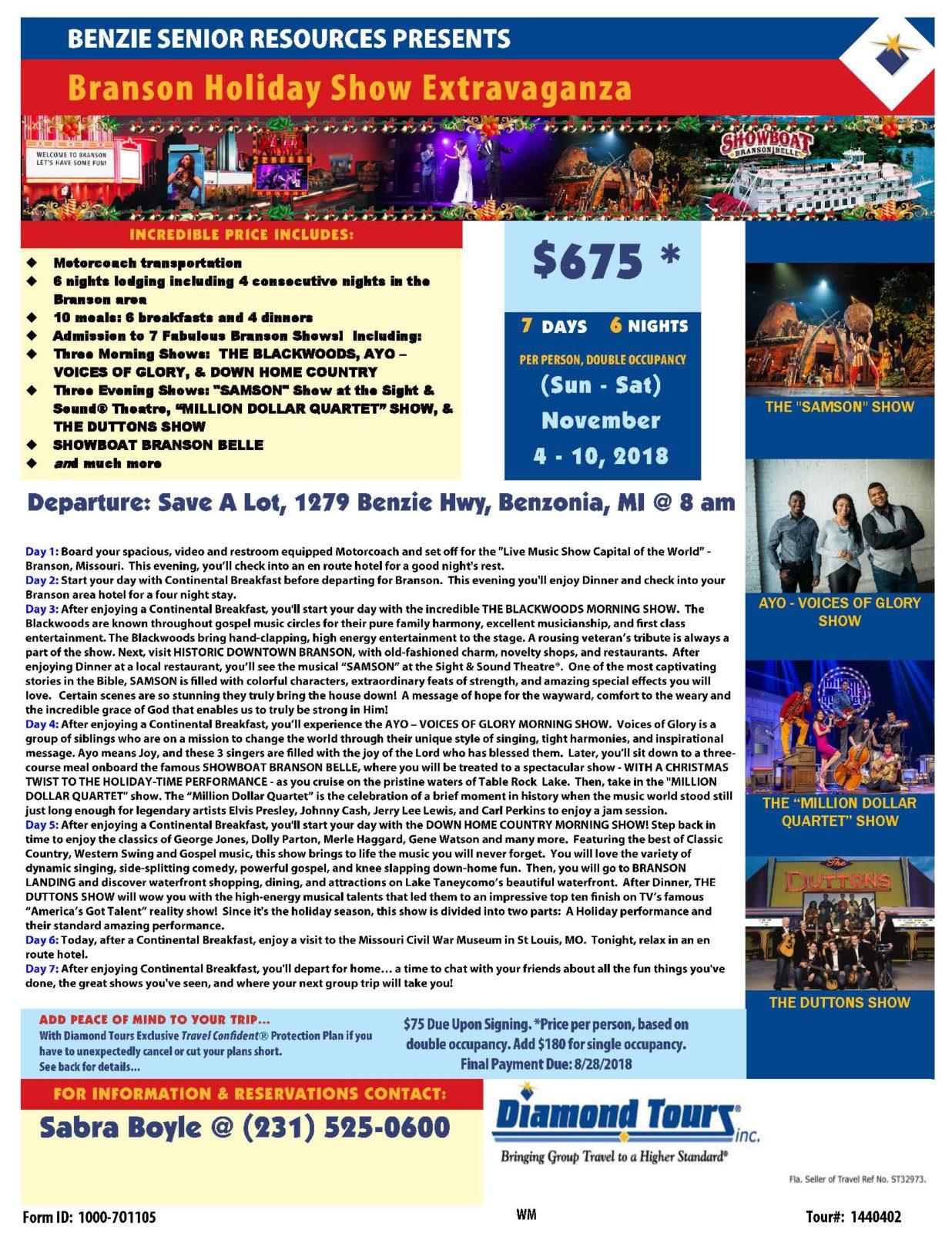 Branson Holiday Show Extravaganza – Nov 4-10, 2018 – Benzie Senior ...
