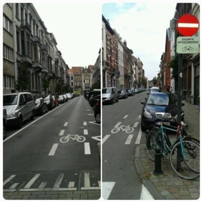 Senso unico eccetto bici a Bruxelles [foto di @fraviar]
