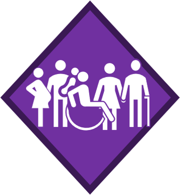 Group of people including a pregnant female and a wheelchair user