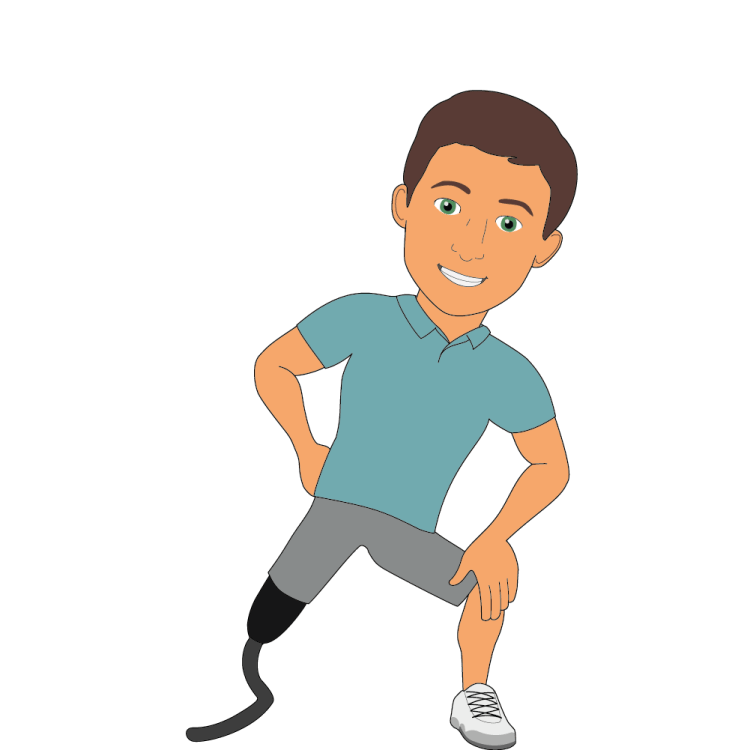 Jacob with a running prosthetic leg, warming up