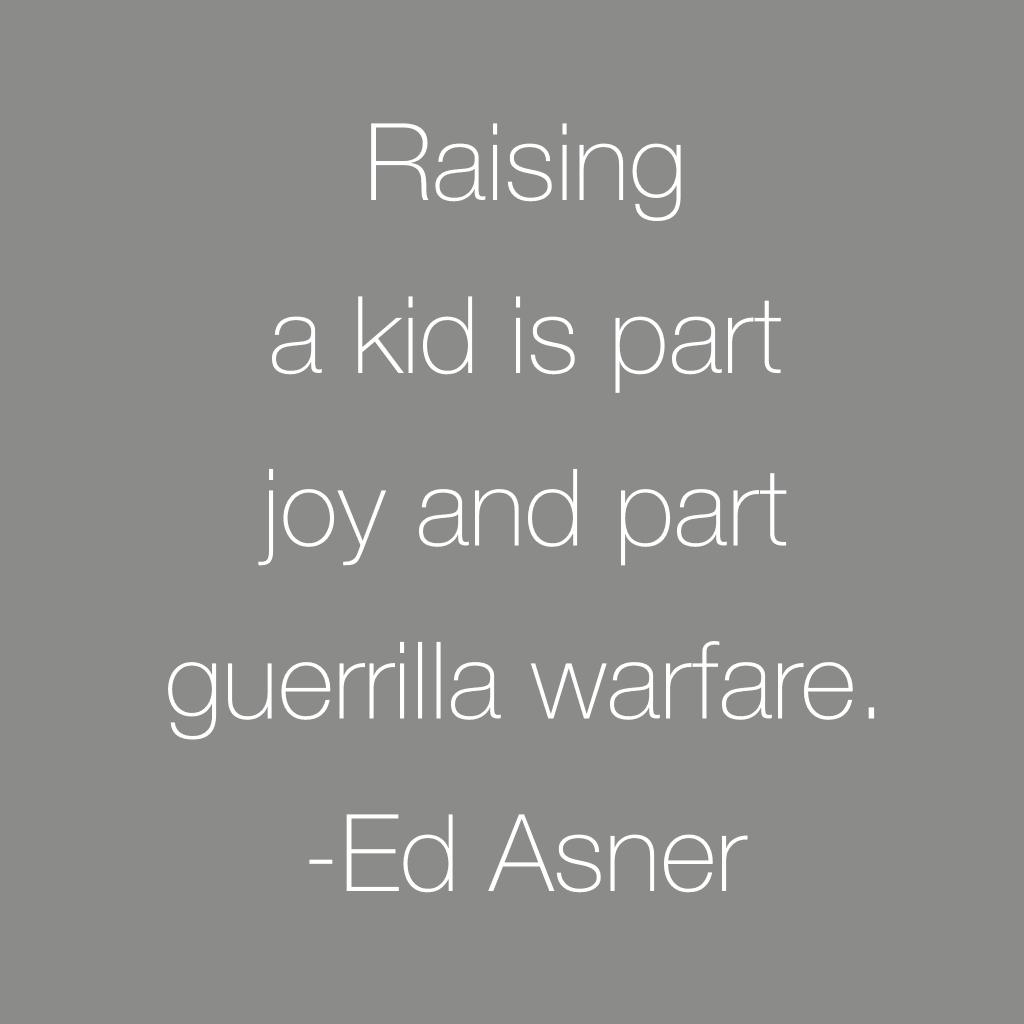 raising a kid is part joy and part guerilla warfare