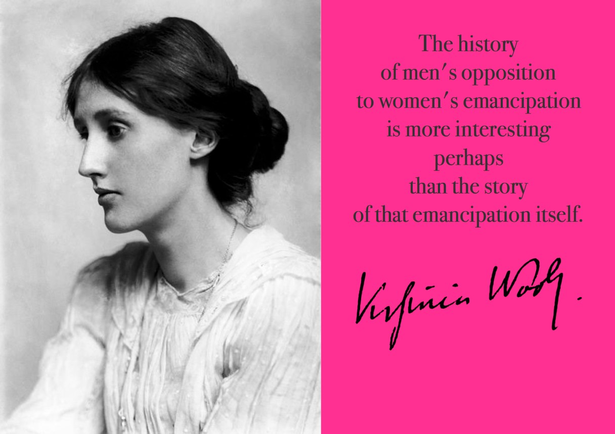 "Dagens citat – Virginia Woolf ""The history of men's opposition to women's emancipation is more interesting perhaps than the story of that emancipation itself."" Originalfotos: commons.wikimedia.org. Citatillustration: Maria Busch"