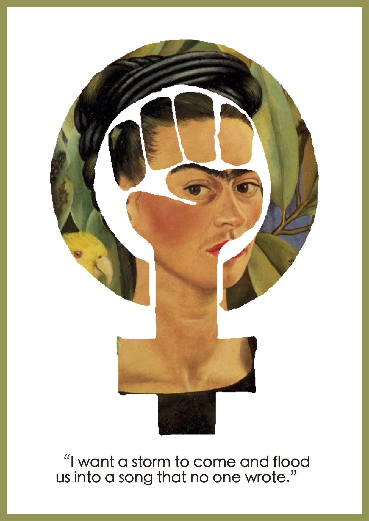 "Citat af Frida Kahlo: ""I want a storm to come and flood us into a song that no one wrote."" Originalfoto: flickr.com (public domain). Citatillustration: Maria Busch"