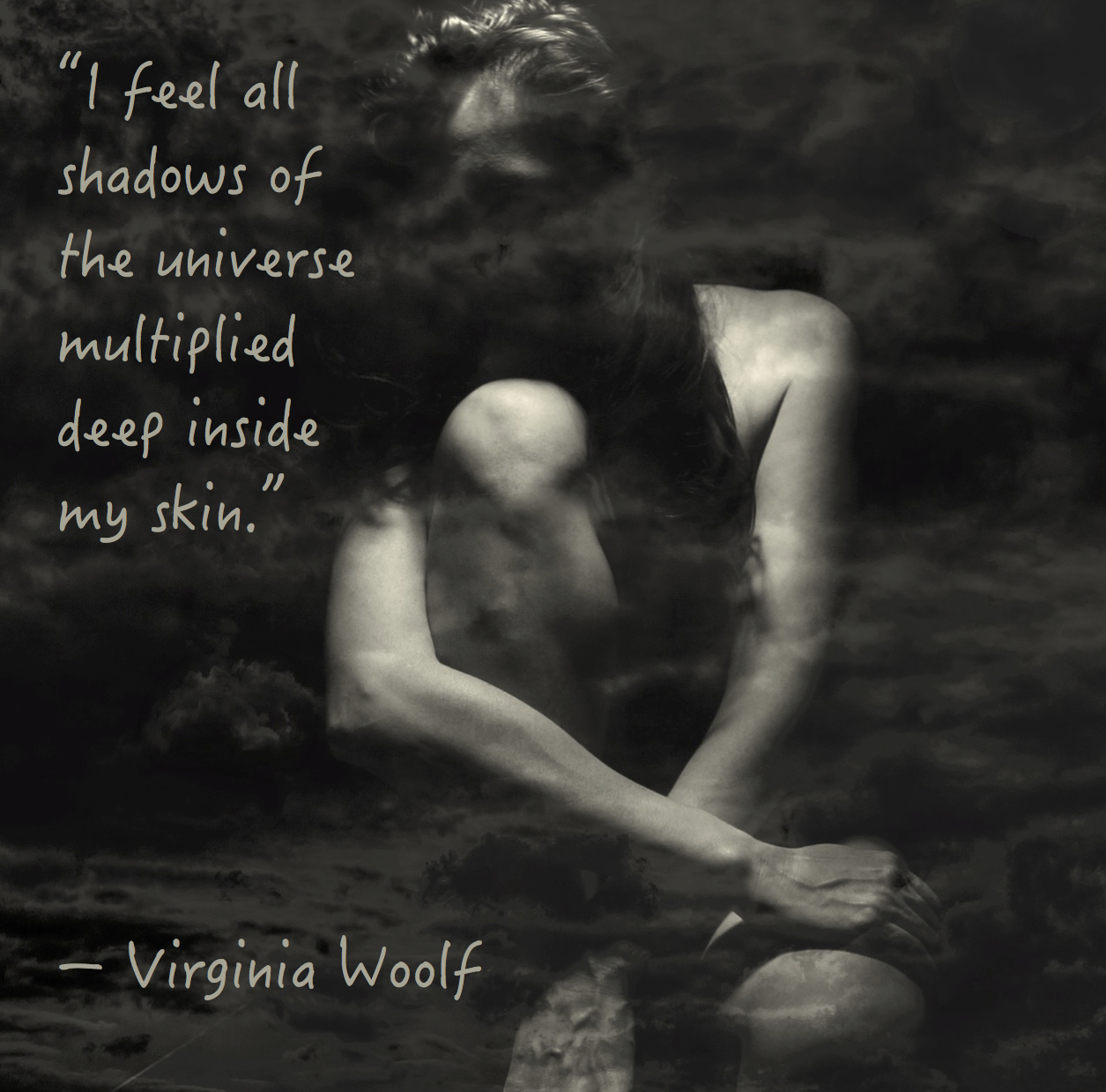 "Citat af Virginia Woolf: ""I feel all shadows of the universe multiplied deep inside my skin."" Originalfotos: pixabay.com. Fotocollage: Maria Busch"