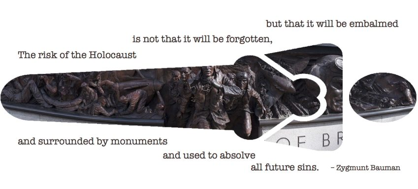 "Citat af Zigmunt Bauman: ""The risk of the Holocaust is not that it will be forgotten, but that it will be embalmed and surrounded by monuments and used to absolve all future sins."" Originalfoto og -illustration: pixabay.com. Citatcollage: Maria Busch"
