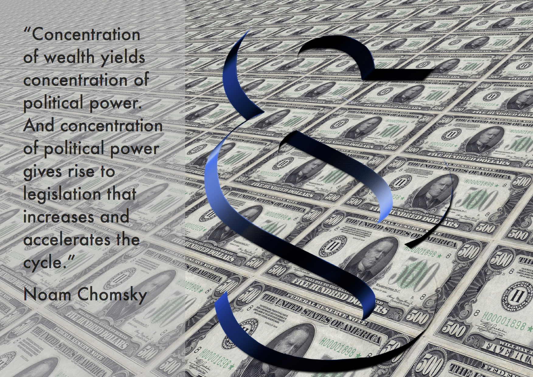 "Citat af Noam Chomsky: ""Concentration of wealth yields concentration of political power. And concentration of political power gives rise to legislation that increases and accelerates the cycle."" Originalfoto og -illustration: pixabay.com. Citatcollage: Maria Busch."