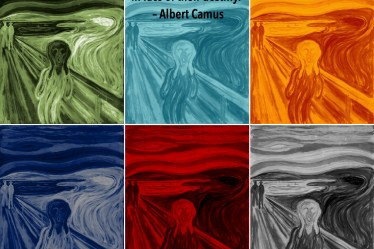 "Citat af Albert Camus: ""Culture: the cry of men in face of their destiny."" Originalfoto: pixabay.com (""Skriget"" af Edward Munch). Citatillustration: Maria Busch"