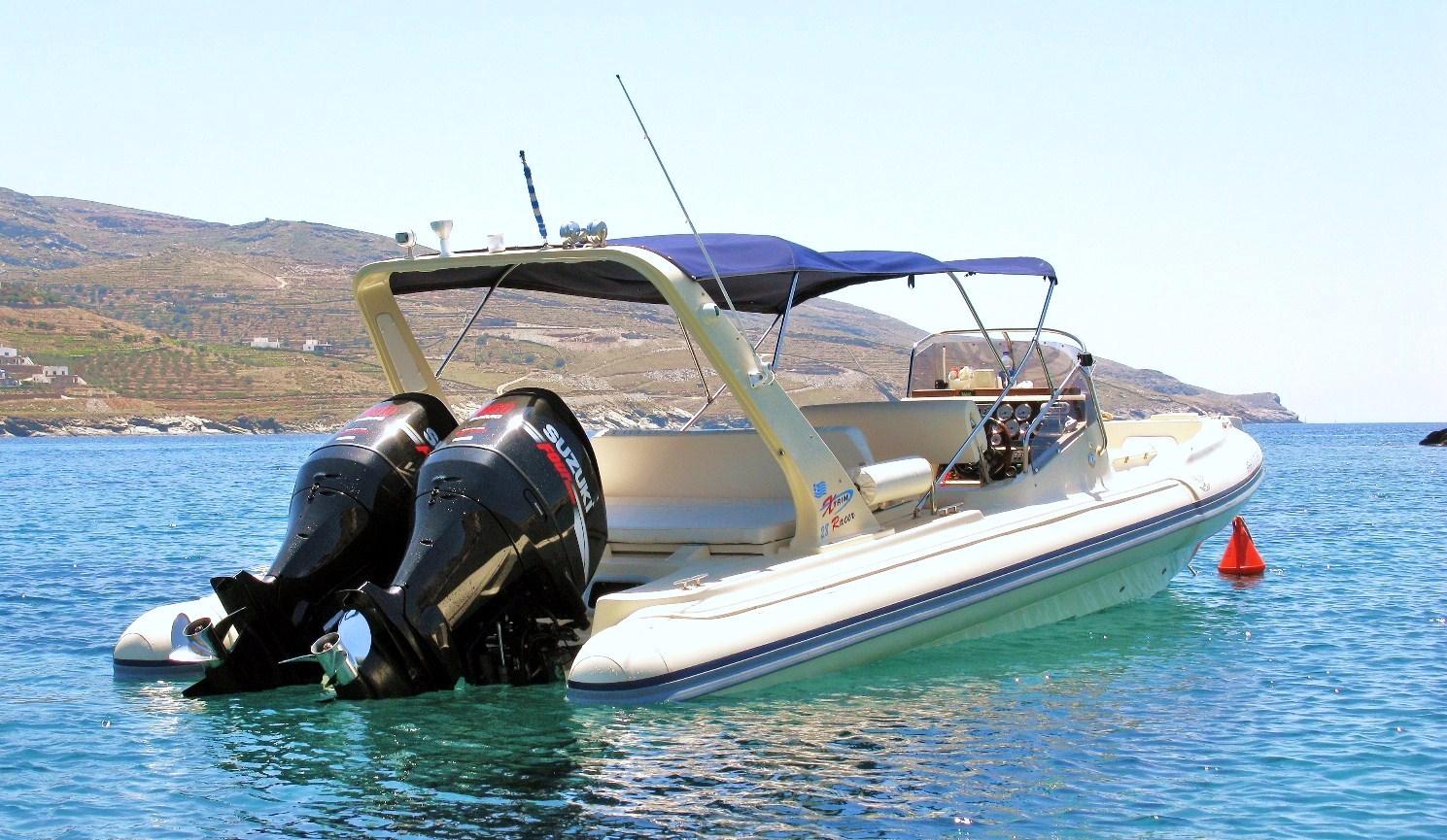HBH III at her anchorage in Koundouros Bay, Kea Island, Greece.
